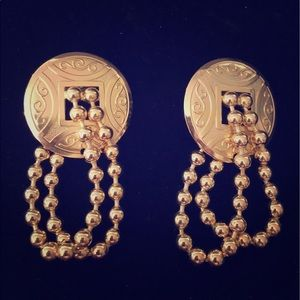 Gold Tone Post Back Drop Earrings